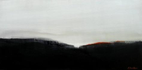 Rouge à l'horizon H30XL60 cm - Huile sur toile