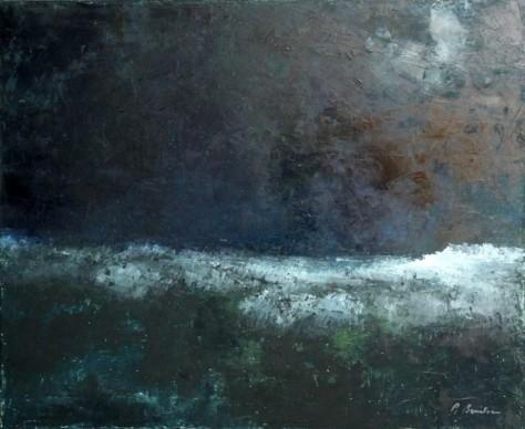 Peinture huile sur toile - La nuit la mer