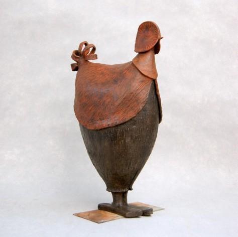 Sculpture terre cuite animalier - La poulette Paulette – H45 x L30 cm