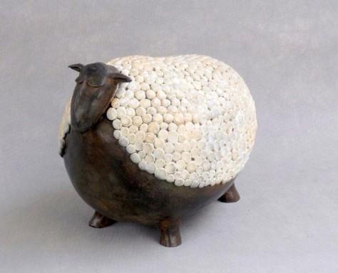 Sculpture bronze animalier - Mouton L26 x H23 cm