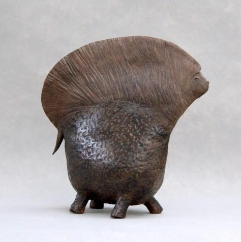 Sculpture Terre cuite animalier - Porc épic – H30 x L28 cm