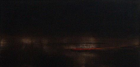 huile sur toile - REFLETS DE NUIT H30 x L60 cm
