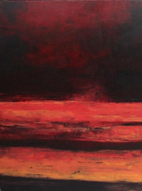 Peinture huile sur toile - Rouge ciel 1