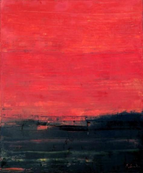 Peinture huile sur toile - Rouge ciel II