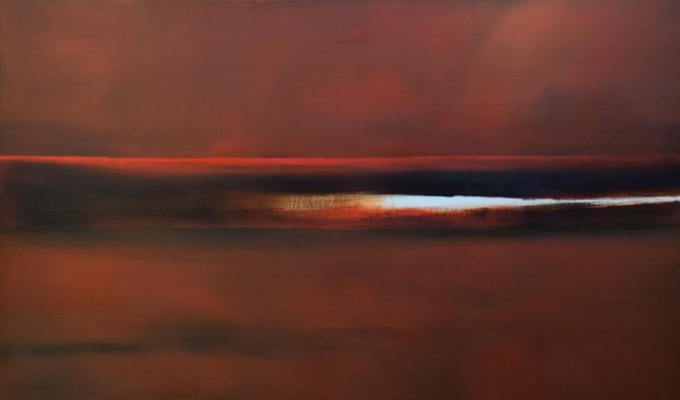 Rouge en Seine 160X100 cm - Huile sur toile