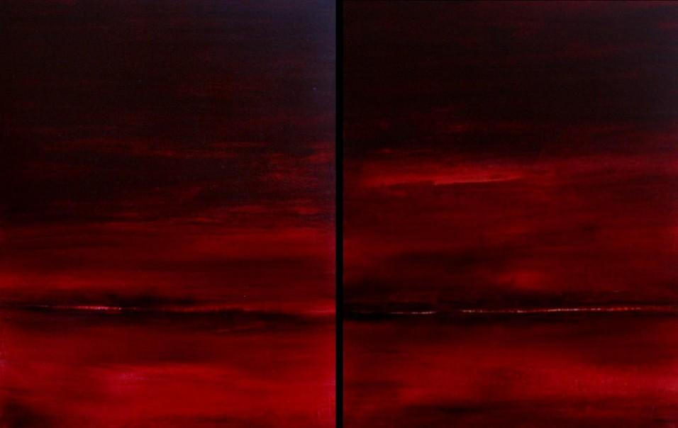 Huile sur toile- TOUT ROUGE (Dyptique) H90 x L70