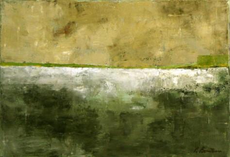 Peinture huile sur toile - Vert de terre