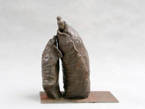 Sculpture Terre Cuite personnages - Mère et Fille H 27 cm