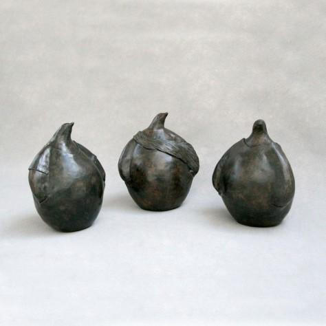 Sculptures Terre Cuite Animalier - 3 Petits Pingouins - H15 cm