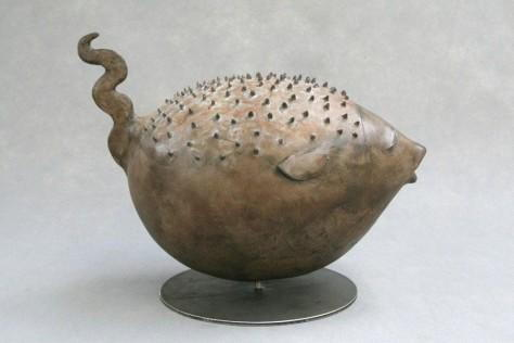 Sculpture Terre Cuite Animalier - Poisson Bulle – H30 cm