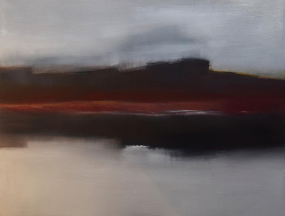 Rouge et Gris 120x90 cm - Huile sur toile